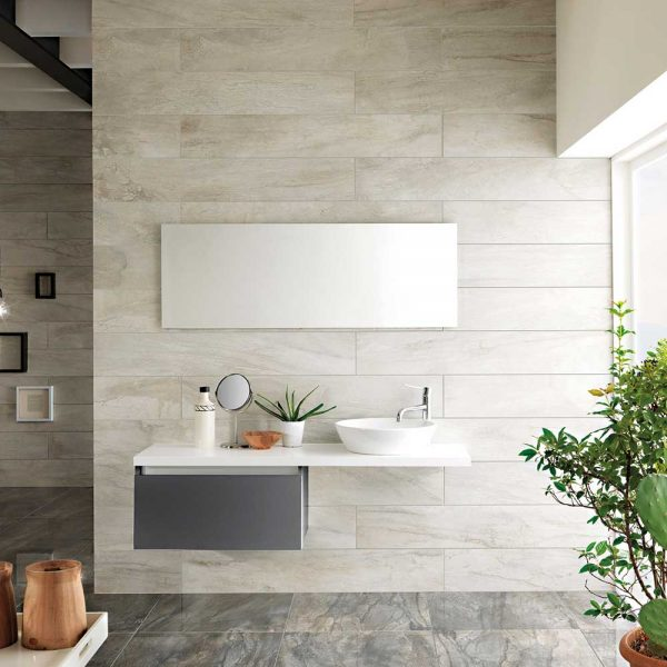Icon Oyster and Charcoal Porcelain Tiles