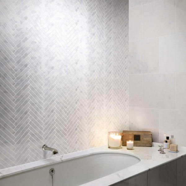 Carrara Nouvo Herringbone Mosaic Tiles