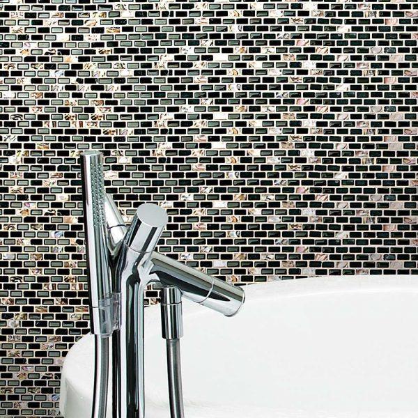 Dahli Black Brick Mosaic Tiles