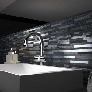 Lava Silver Stick Mosaic Tiles